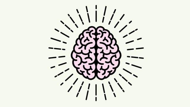 Ein stilisiertes Gehirn scheint Wärme abzustrahlen.