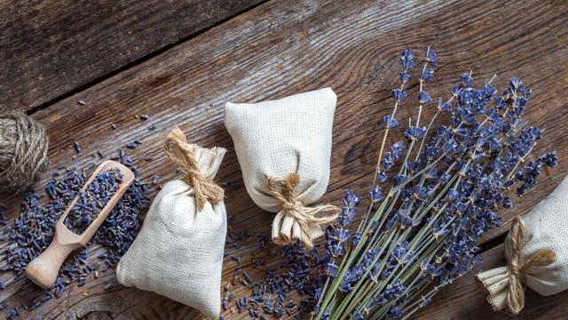 Lavendelblüten und -kissen
