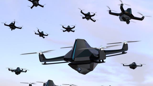 Zukunftsszenario: Ein Schwarm Drohnen attackiert