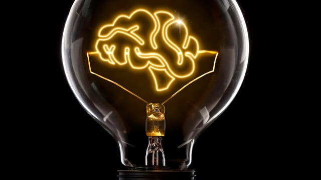 Glühbirne mit Gehirn