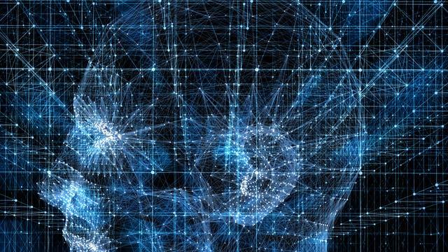 Ein blaues abstraktes Netzwerk