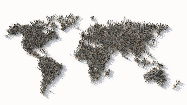 Weltkarte aus Menschen