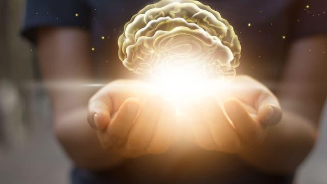 Handinnenflächen schützen leuchtendes virtuelles Gehirn