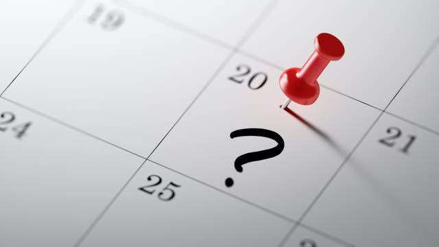 Im Kalender steht ein Fragezeichen