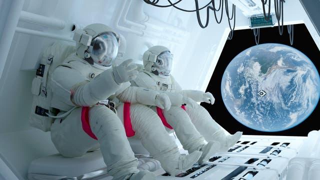 Astronauten an Bord einer fiktiven Raumstation