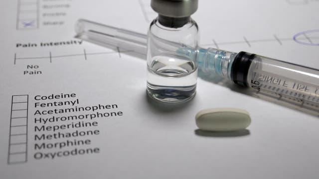 Spritze und Medikamentenfläschchen liegen auf einem Schmerzfragebogen