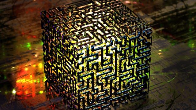 Symbolbild für einen Quantencomputer: Ein von innen erleuchteter Würfel aus... ja was eigentlich? Quanten?