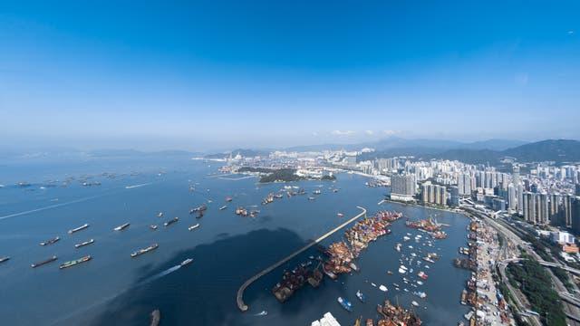 Blick über die Küste von Hongkong