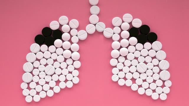 Tabletten in Lungenform (Tuberkulose-Konzept)