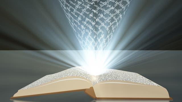 Als Buchstabensuppenlicht symbolisiertes Wissen entsprudelt einem geöffneten Buch