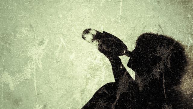 Illustration einer trinkenden Frau vor einer Wand