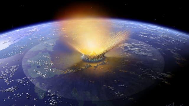 Asteroiden-Einschlag auf der Erde (künstlerische Darstellung)
