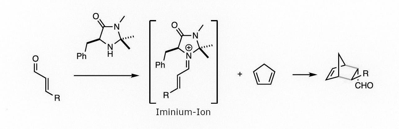 Das bei der Bindung des Katalysators gebildete Iminium-Ion verhält sich ähnlich wie das Metallatom in einem klassischen Katalysator – kommt aber ohne das Metall aus.