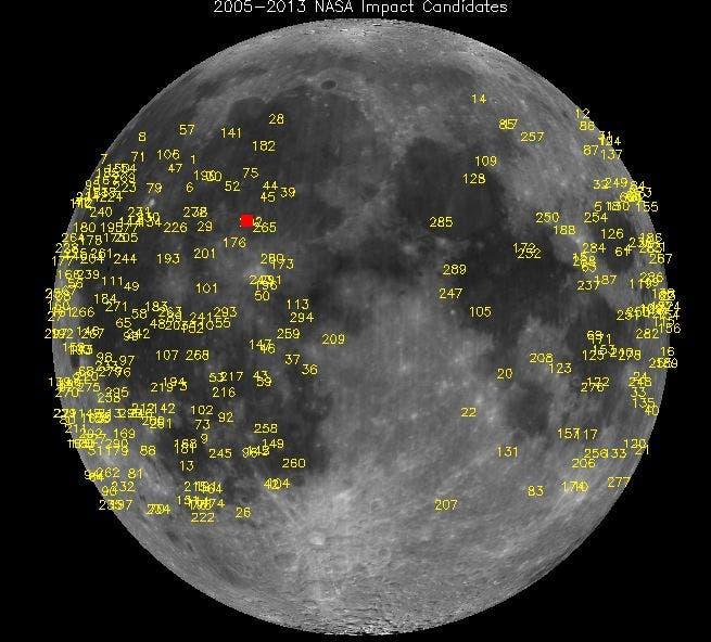 Meteoriteneinschläge auf dem Mond