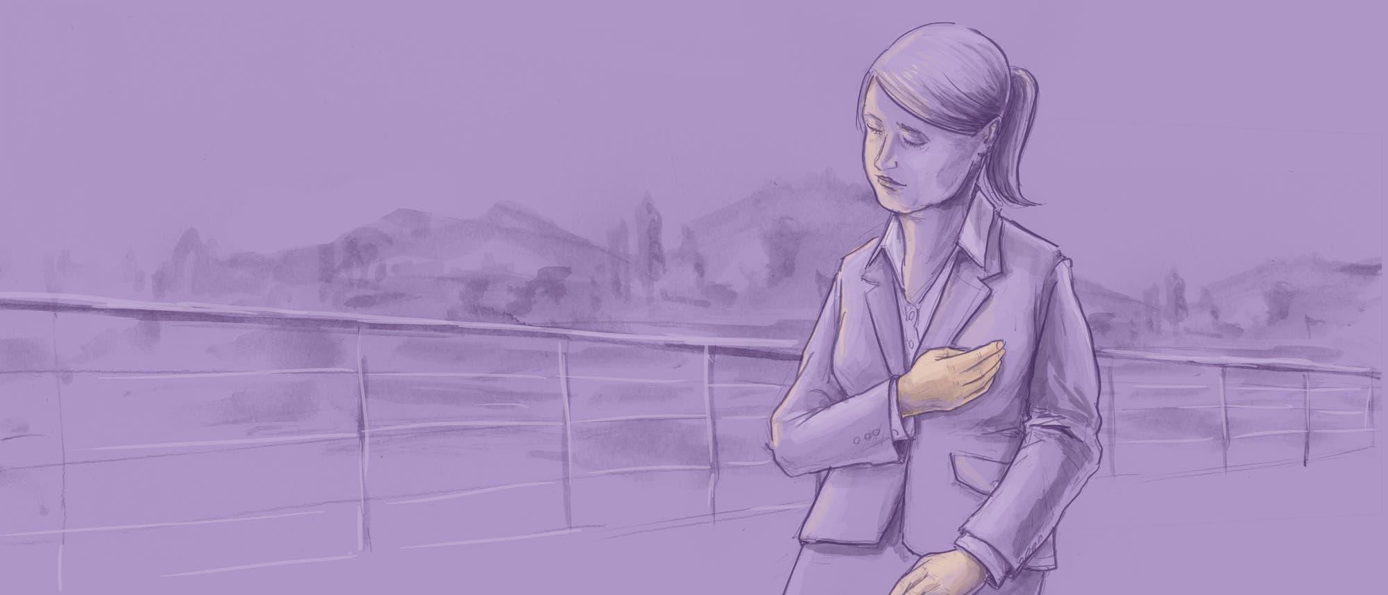 Illustration einer Frau, die sich ans Herz fasst