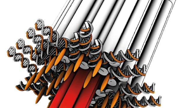 Pilzförmiger Ionenkanal aus DNA-Helices, Schemazeichnung
