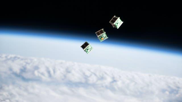 Von der ISS ausgesetzte CubeSats