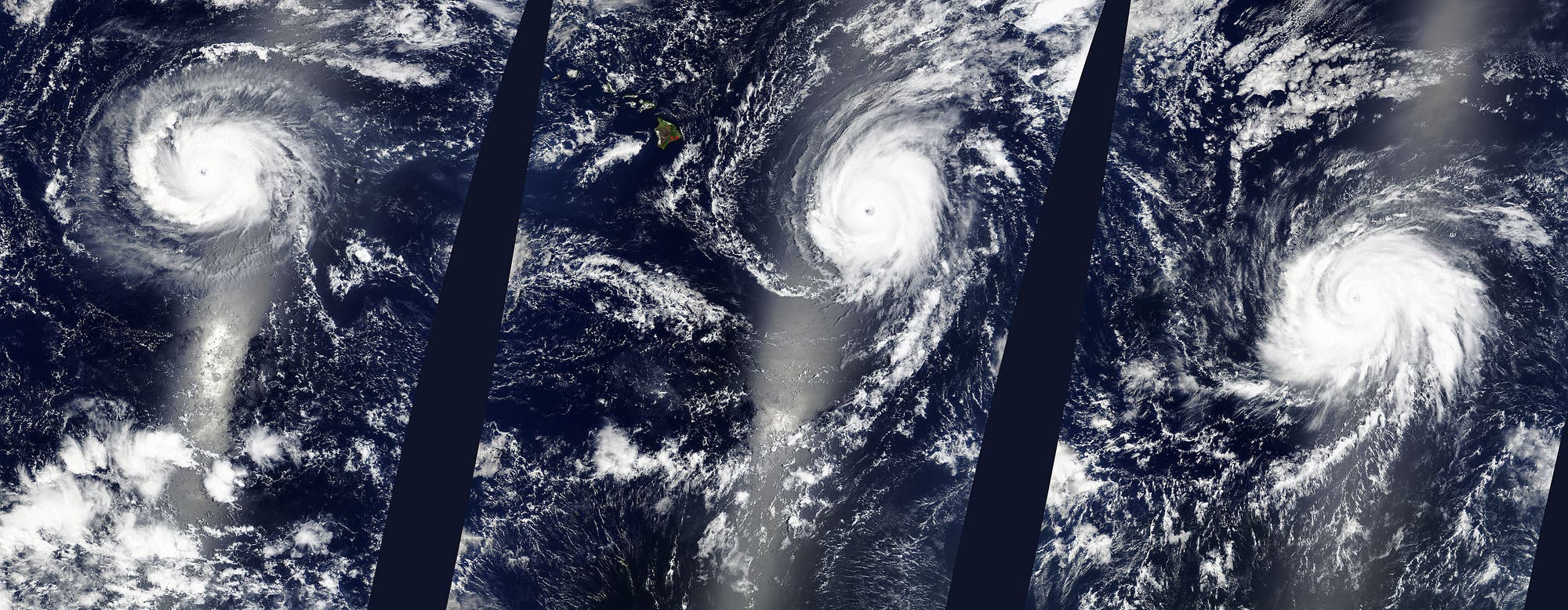 Die Hurrikane Kilo, Ignacio und Jimena im Infraroten