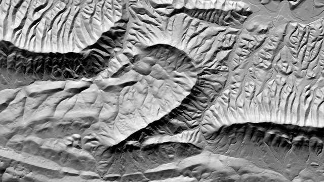 Digitales Geländemodell des Cove Mountain. Leider gibt es in den Appalachen keinen Berg, der aussieht wie eine4.