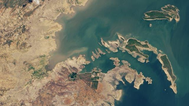 Der Kariba-See in Sambia und Simbabwe trocknet aus
