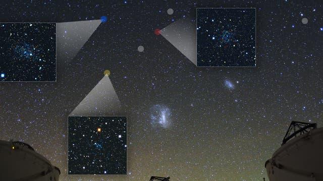 Südhimmel mit neu entdeckten Zwerggalaxien