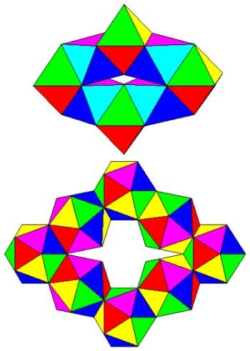 Rautenförmige Ringe aus Oktaedern und Ikosaedern