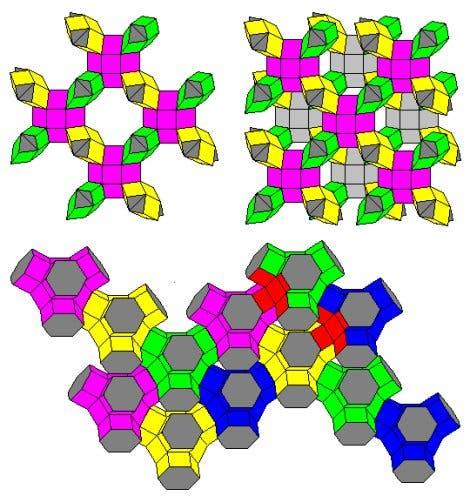 Polyeder aus unendlich vielen Quadraten, fünf um jede Ecke