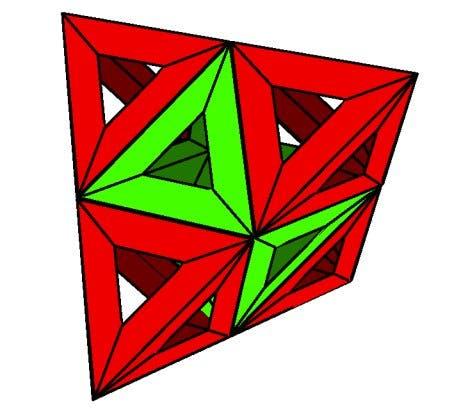 Oktaeder mit vier aufgesetzten Tetraedern