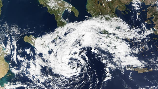 Satellitenbild eines Medicane von 2016