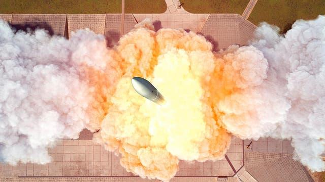 Start einer Mikrolauncher-Rakete (künstlerische Illustration)