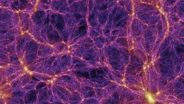 Simulation der Verteilung sichtbarer und Dunkler Materie