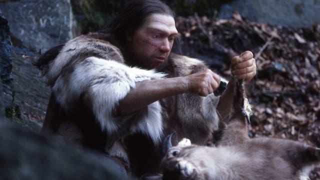 Jäger bei der Tierverarbeitung