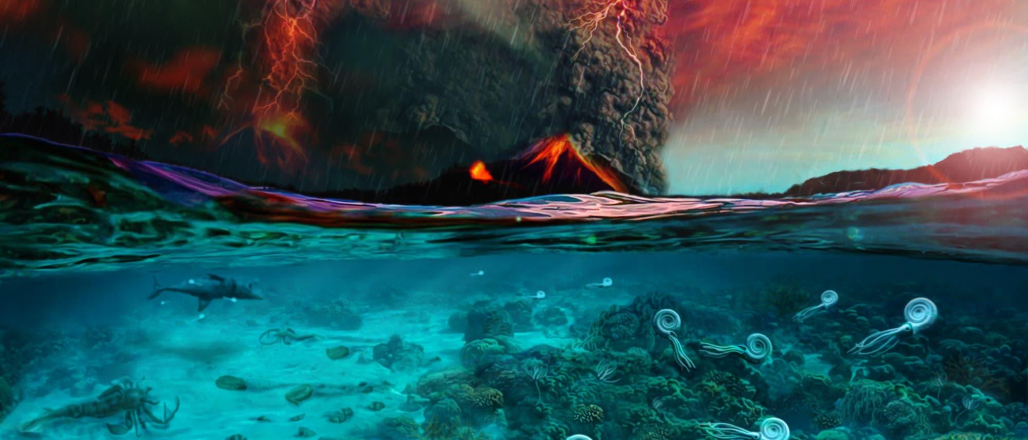 Weit reichende Vulkantätigkeiten lösten vor 252 Millionen Jahren das größte Massenaussterben der Erdgeschichte aus (Illustration)