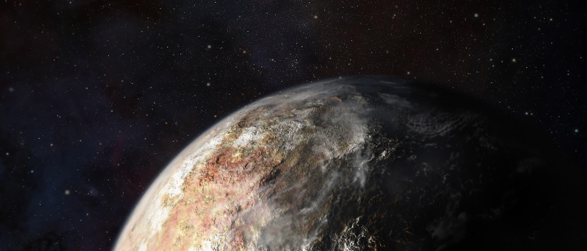 Im Anflug auf Pluto (künstlerische Darstellung)