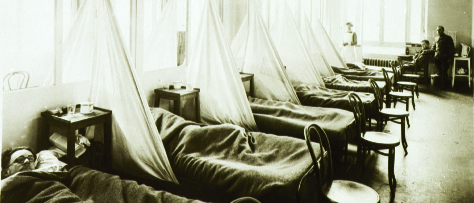 Grippestation im Feldkrankenhaus Aix-les-Bains der US Army in Frankreich während des 1. Weltkrieges