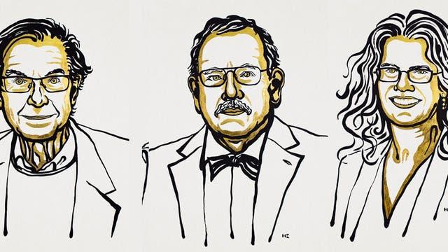 Roger Penrose, Reinhard Genzel und Andrea Ghez (von links nach rechts) sind die Physik-Nobelpreisträger 2020.