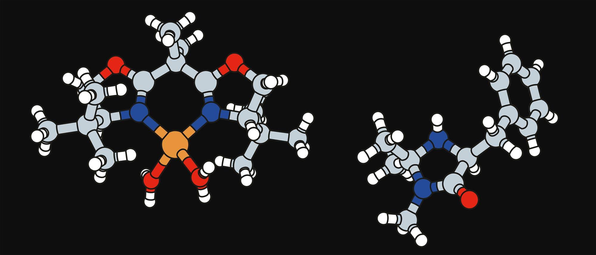 Katalysatoren für Metathese. Links: klassischer Metallkatalysator. Rechts: Organokatalysator.