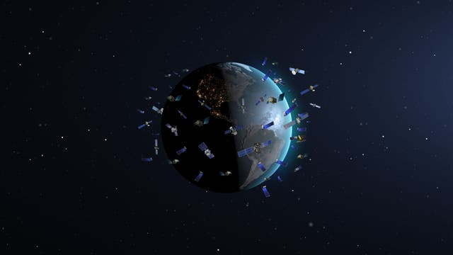 Megakonstellation aus Satelliten (nicht maßstabgetreue Illustration)