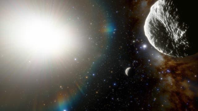 Illustration des Asteroiden 2021 PH27, rechts im Bild. In der Mitte ist der Planet Merkur wiedergegeben, links die Sonne.