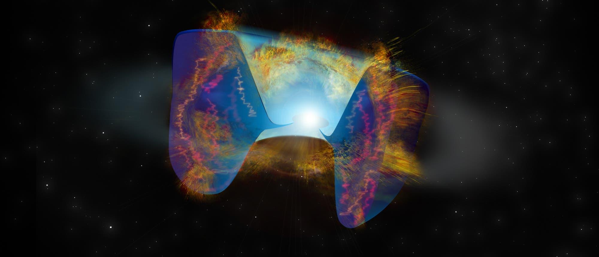 Die sich schnell bewegenden Trümmer einer Supernova, die durch eine Sternkollision ausgelöst wurde, prallen auf Material, das zuvor herausgeschleudert wurde. De Erschütterungen verursachen helle Radioemissionen.