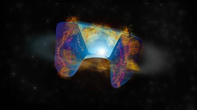 Die sich schnell bewegenden Trümmer einer Supernova-Explosion, die durch eine Sternkollision ausgelöst wurde, prallen auf Material, das zuvor herausgeschleudert wurde. De Erschütterungen verursachen helle Radioemissionen.