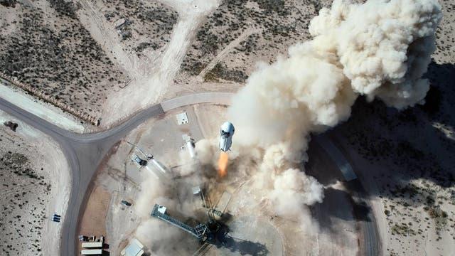 Blue Origins »New Shepard« bei einem Start von Launch Site One in West-Texas