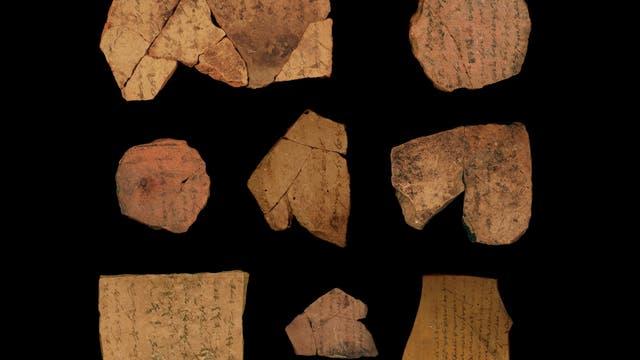 Beschriftete Scherben aus der Festung Arad