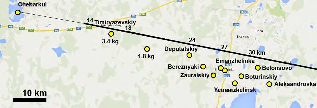 Bestätigte Meteoritenfunde vom Boliden von Tscheljabinsk (Karte)