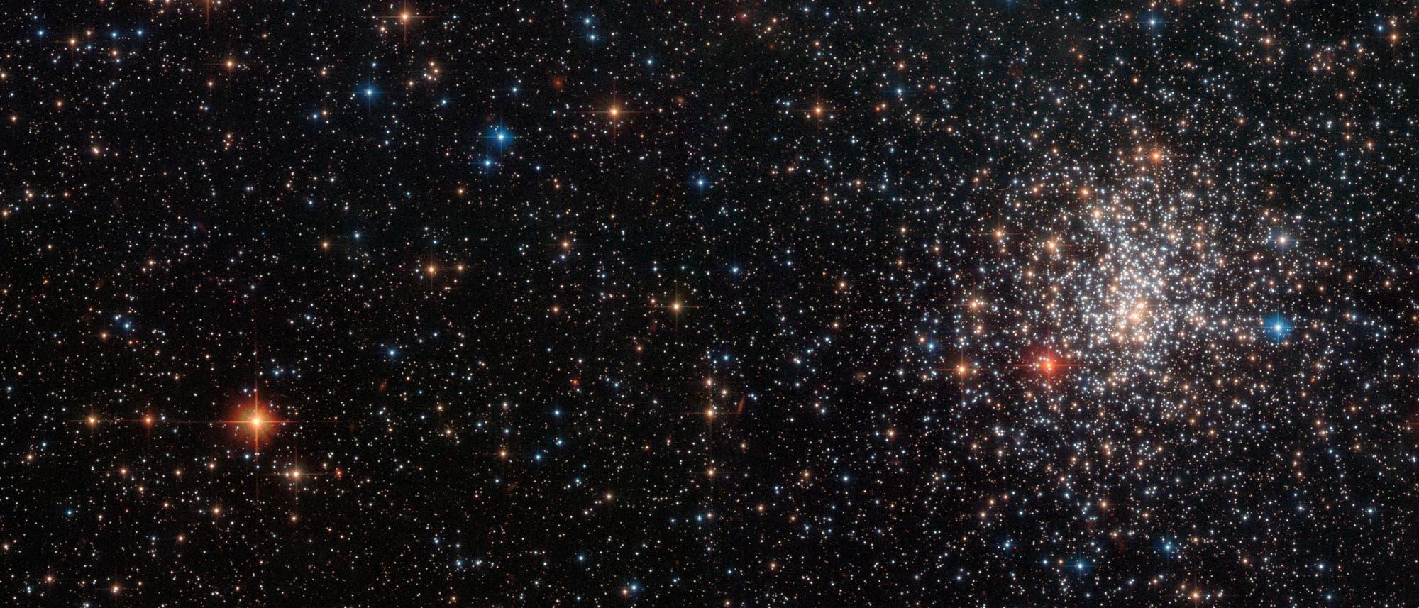 Der Kugelsternhaufen NGC 2108, in einer Aufnahme des Hubble Weltraumteleskops, mit einem auffälligen, tiefrot leuchtenden Stern links unten im Kugelsternhaufen. Dabei handelt es sich um einen Kohlenstoffstern.