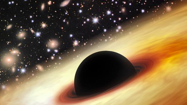 Ein extrem massereiches Schwarzes Loch (Computergrafik)