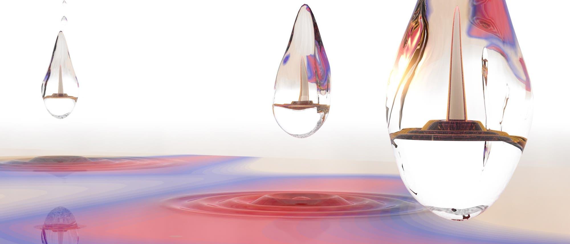Künstlerische Darstellung des Quantentröpfchens
