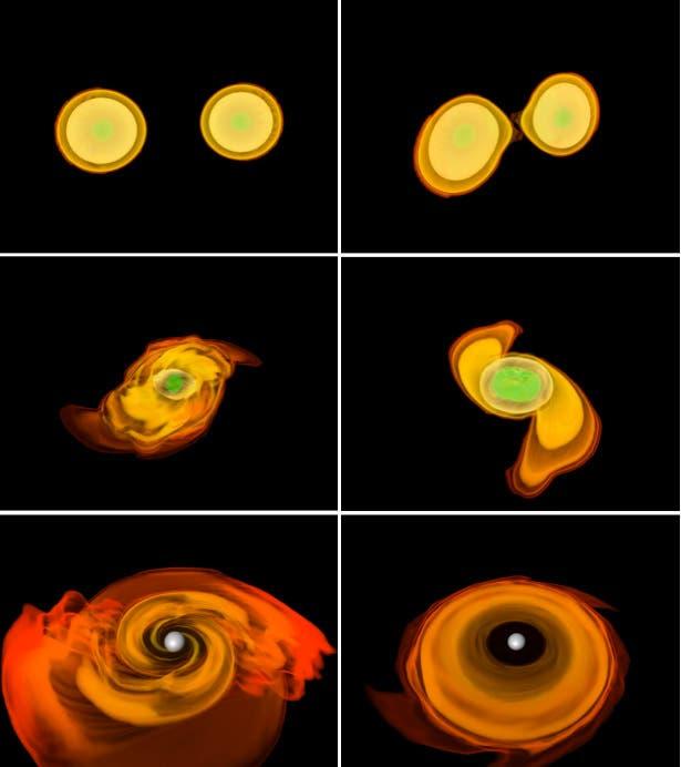 Die Bilder zeigen eine Simulation von zwei Neutronensternen, die zu einem Hypermassiven Neutronestern (HMNS) verschmelzen.