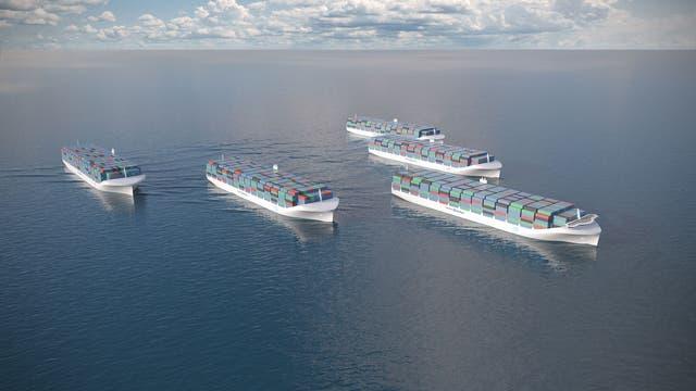 Eine Flotte autonomer Containerriesen