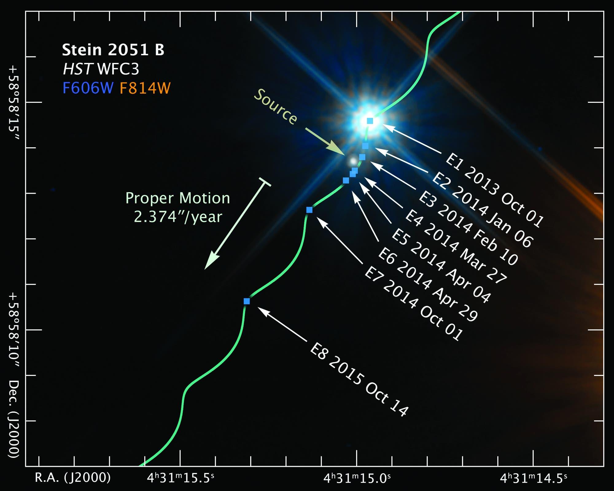 Ein Weißer Zwerg wirkt als Gravitationslinse (Aufnahme des Weltraumteleskops Hubble)
